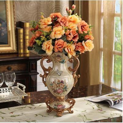 Photo of European Luxury Palace Resin Vase Ornaments Home Room Desktop Figurines Crafts Decoration Wedding Gift Retro Silk Flower Pot Art – style 19