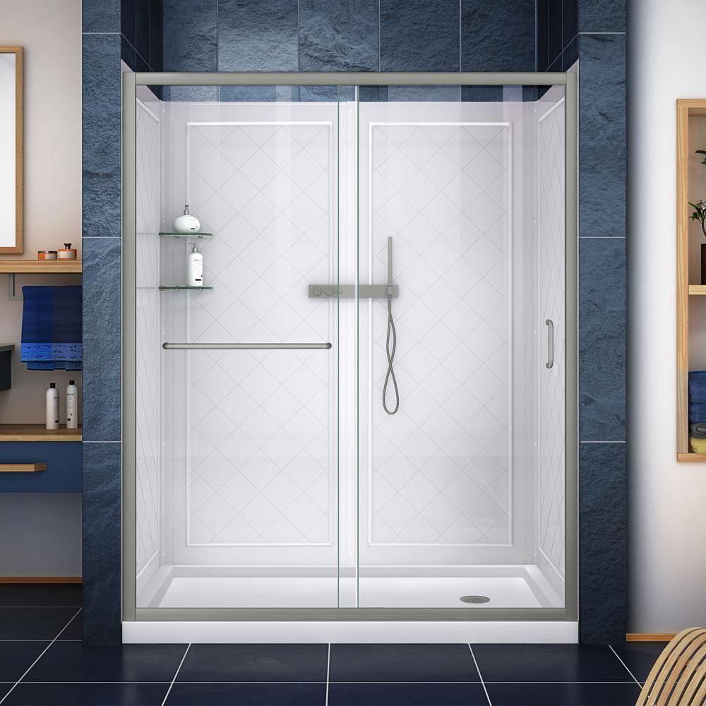 Dreamline Infinity Z 36 In X 60 In Semi Frameless Sliding Shower