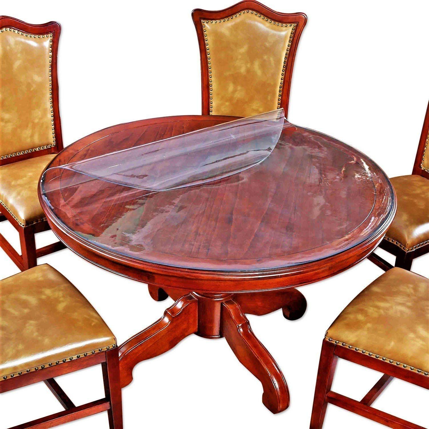 Round Table Protector Furniture Clear Plastic Protector Circle Tablecloth Cloths Cover Pvc Vinyl Waterpr Glass Dining Table Dining Table Top Round Table Covers