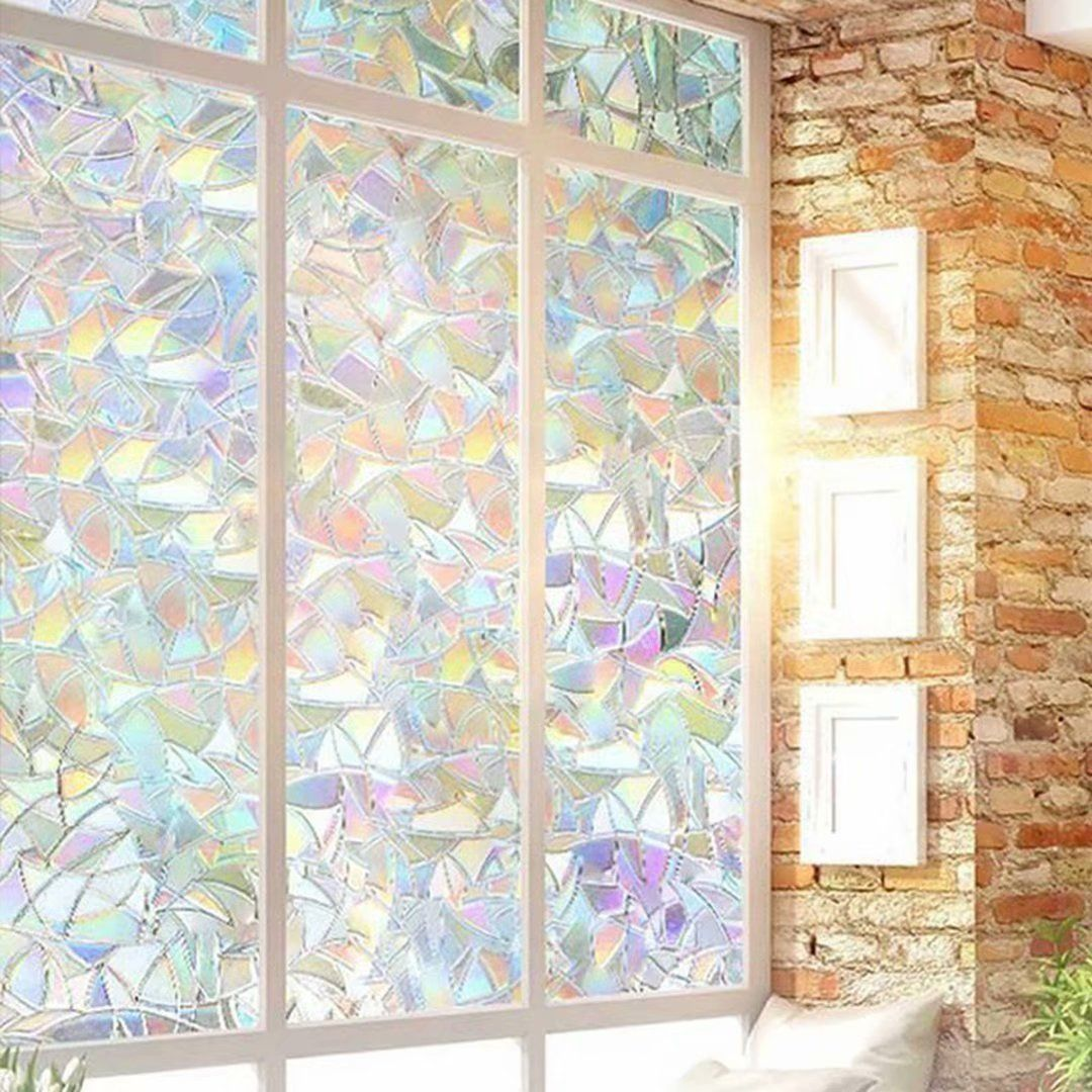 Window Privacy Film 3d Rainbow Window Clings No Glue Decorative Window Stained Glass Window Decals Static Cling Window Sticker Non Adhesive 17 7 X78 7 In 2021 Stained Glass Window Film Window Film Decorative Decorative static cling window decals