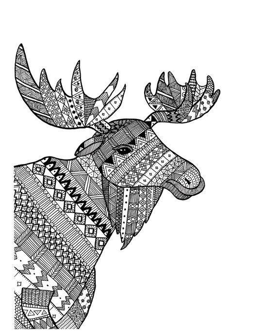 Zentangle Moose Art Print By Mikaela Puranen Moose Art Art Prints Animals With Horns