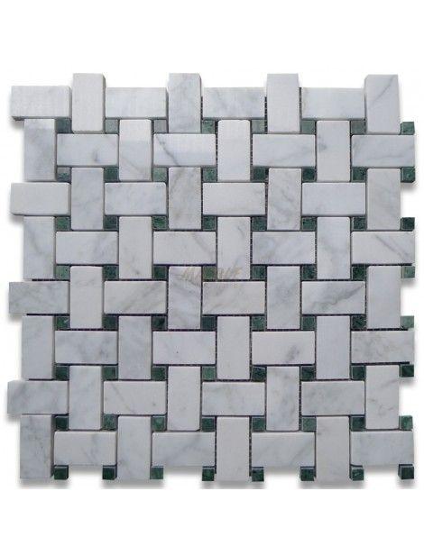 Marble Large Basketweave Mosaic Tile with Black Marble Dots Bianco Carrara Polished Carrara White Italian