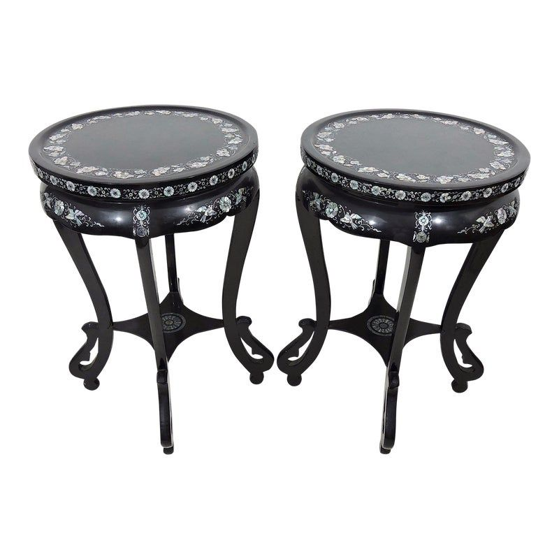 Black Lacquer And Mother Of Pearl Inlayed Asian Side End Tables