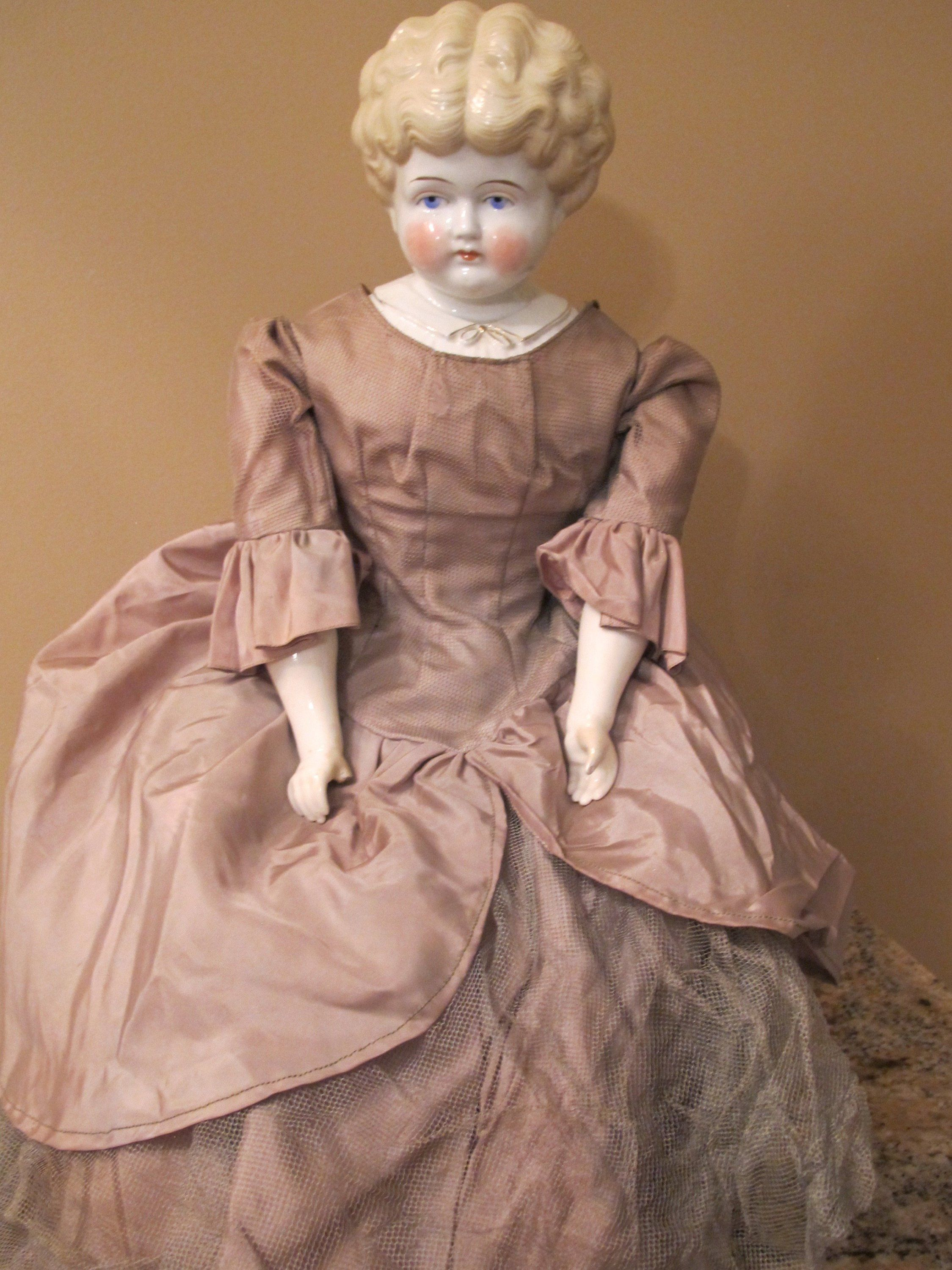 Large 27 Antique Germany Hazel China Head Doll Blonde By