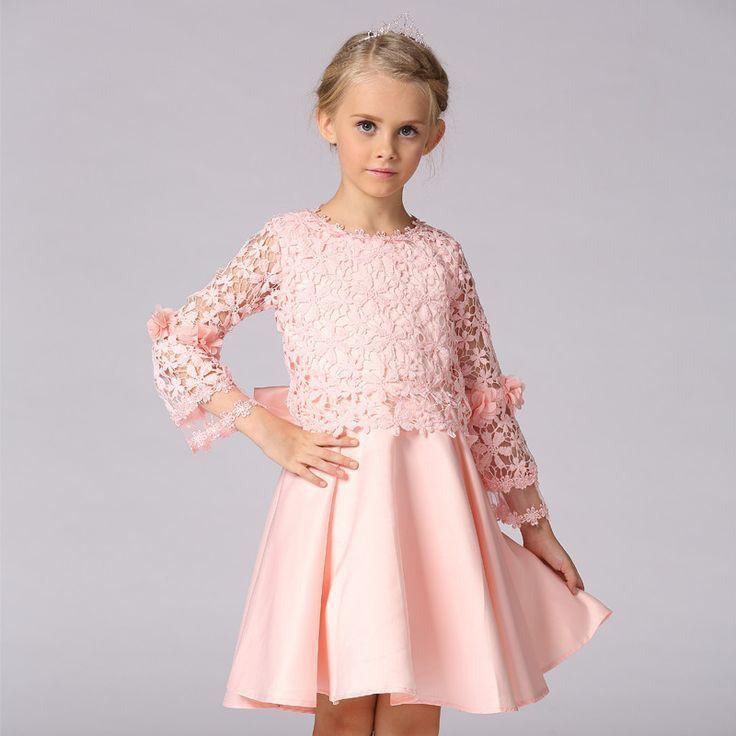 2016 Korean Kids Lace Dress Kids Long Sleeve Princess Dress Party ...