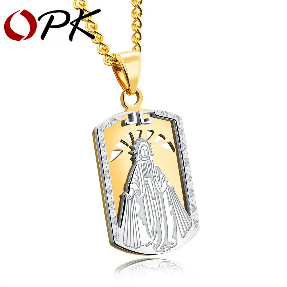 Opk blessed virgin mary pendant necklace for men gold color