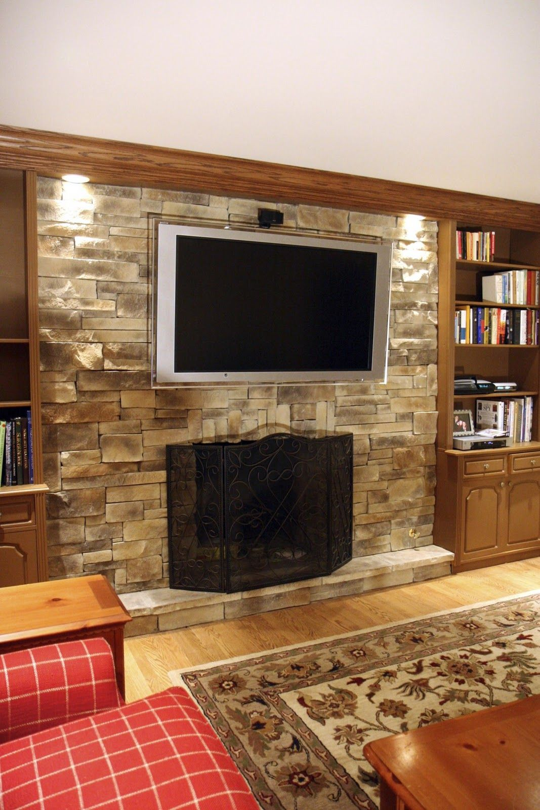 Stone Fireplace Design Ideas With Tv Over Brick Libertyville