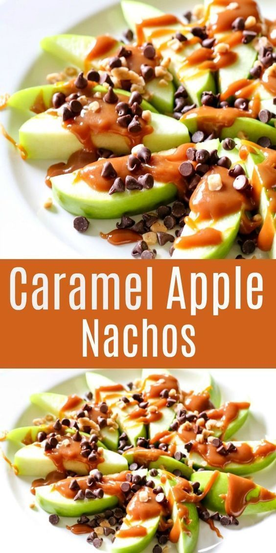This Caramel Apple Nachos Recipe Is A Quick & Easy Dessert Recipe everyone will love! Slice Green Apples, Drizzle In Caramel And Top With Chocolate Chips And Toffee Bits – It Tastes Just Like A Caramel Apple, But Much Easier to Make In NO Time! #caramelapples