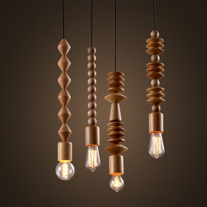 Rustic Wood Bead Mini Single-Light Exposed Edison Bulb Pendant Light - Pendant Lights - Ceiling Lights - Lighting & Rustic Wood Bead Mini Single-Light Exposed Edison Bulb Pendant Light ...
