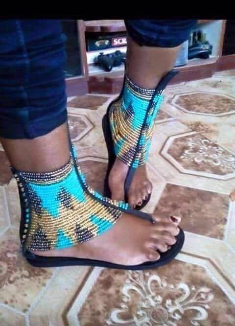 African Beaded Flat Handmade Leather Sandals Beaded