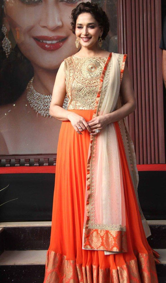 Madhuri Dixit In Rich Orange And Gold Floor Length Anarkali Hot Arms Pics In Sleeveless Suits Madhuri Dixit W Bollywood Fashion Floor Length Anarkali Fashion
