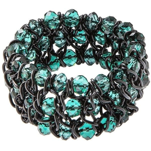 Teal Beaded Stretch Bracelet ($20) ❤ liked on Polyvore