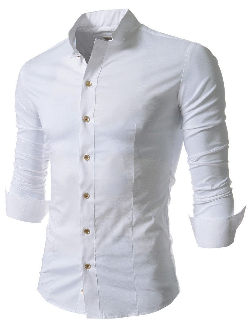 2014 Brand New Men's Solid Color Slim Fit Long Sleeve Casual Shirts Collar  Cotton Mens Dress