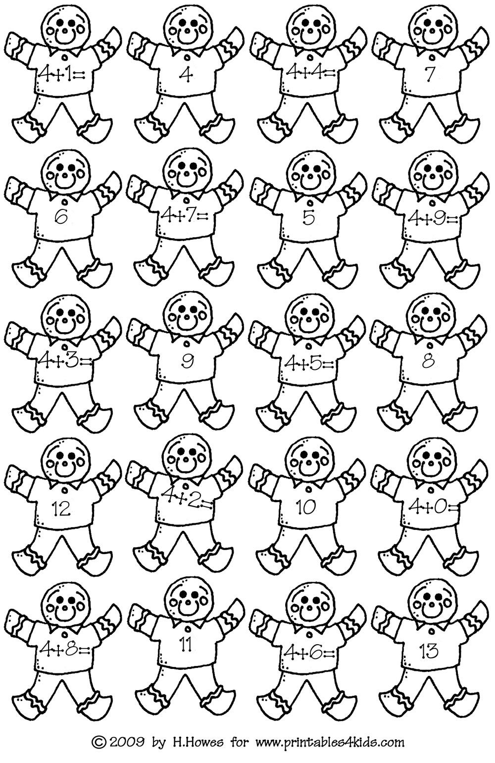 gingerbread math addition facts 4s printables for kids free word search puzzles coloring - Coloring Pages Addition Facts