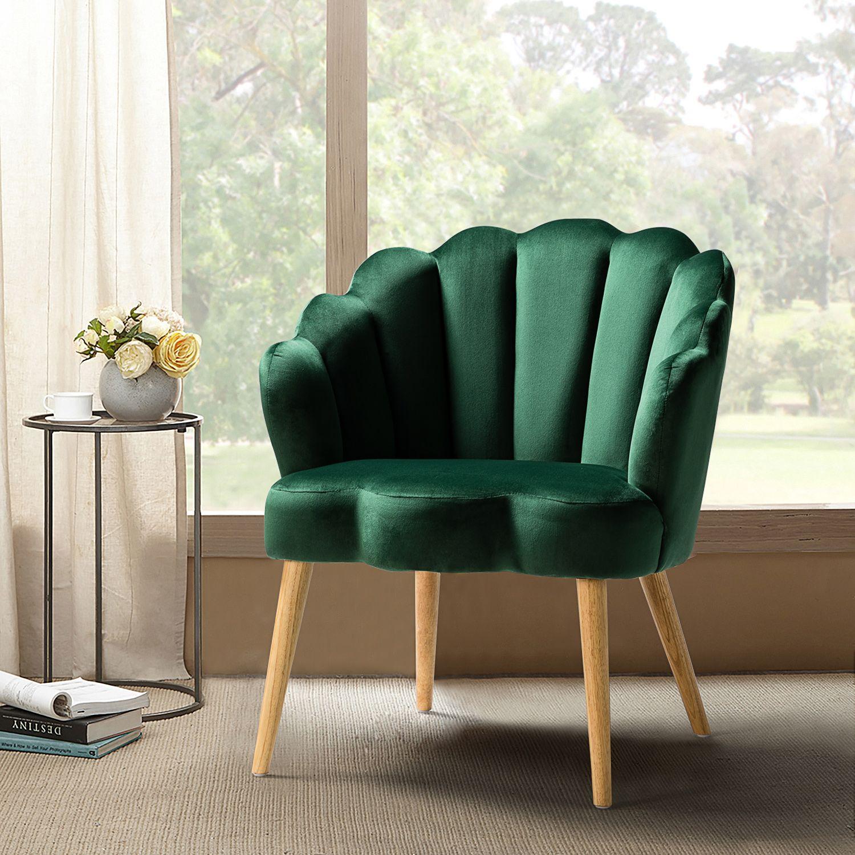 14 Karat Home Flora Bucket Chair Green Walmart Com In 2021 Velvet Armchair Chair Upholstered Chairs