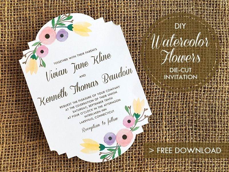 Free Wedding Invitation Template with Watercolor Flowers - invite template free download