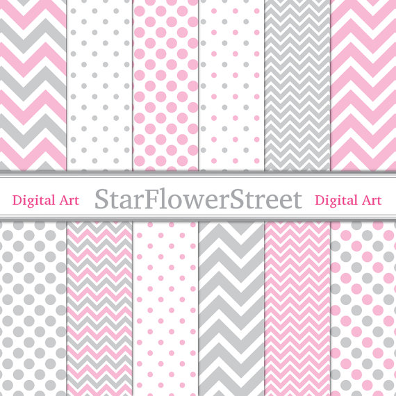 Pink Gray Digital Paper Chevron Polka Dot Girl Scrapbook ...