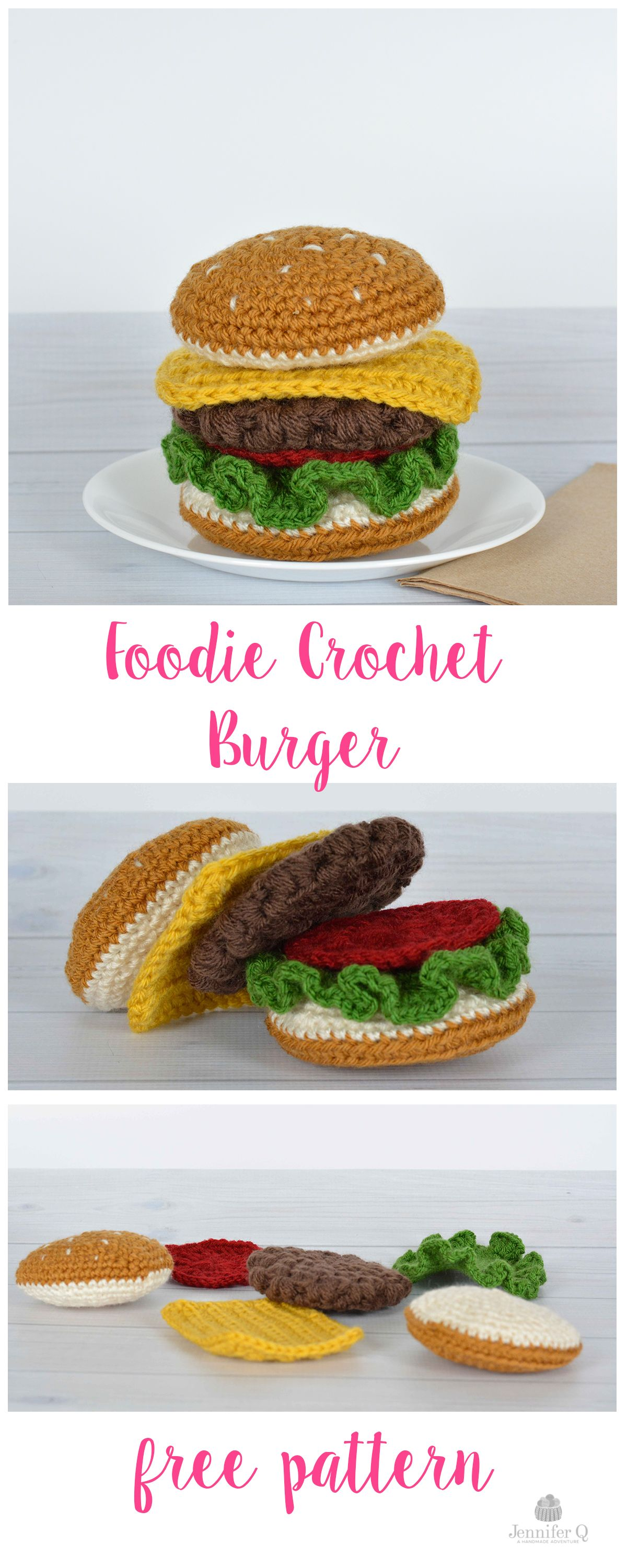 Fun and free Foodie Crochet Burger pattern. On the blog www ...