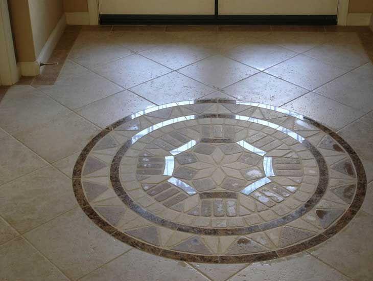"Decorative Floor Tiles 21 34"" X 15 78"" Daltile Fidenza & Heathland Tile Medallion"