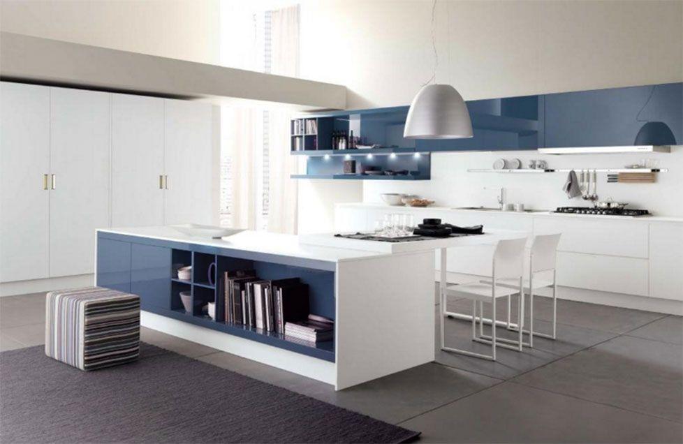 moderne-liebessprüche-mit-Bezaubernde-Weiß-Blau-Glanz-Küche ...