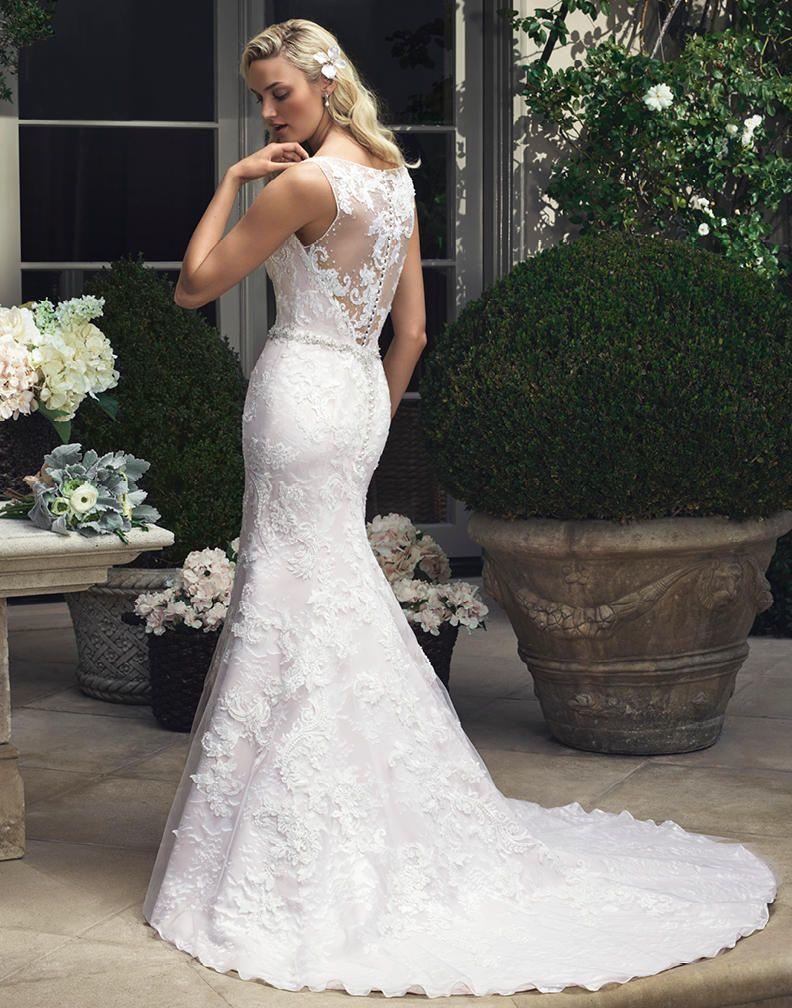 Modern Sleeveless V Neck Sheath Lace Pattern Chapel Train Long White Tulle Wedding Dress with Crystal Belt