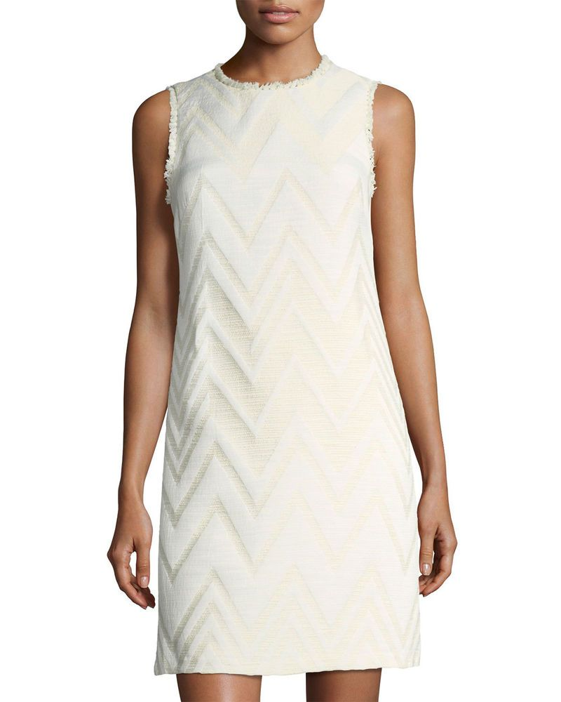 afb35045 Donna Ricco Size 14 White Sleeveless Fringe-Trim Jacquard Dress 2086  #DonnaRicco #SheathDress #Work