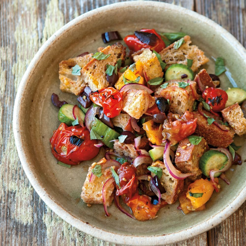 Bread Salad With Charred Tomatoes Cucumber And Olives Recipe