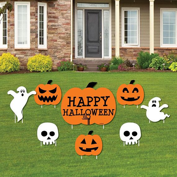 Pumpkin & Ghost and Skull Shaped Lawn Decorations
