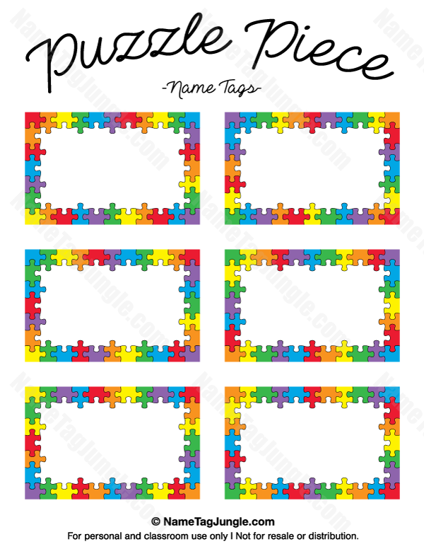 Puzzle Piece Name Tags Name Tags At NameTagJunglecom Pinterest - Sample name tag templates