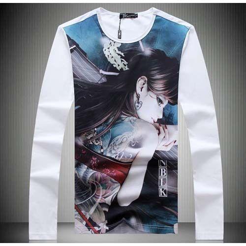 #White ancient gril print men's long sleeve cotton #TShirt