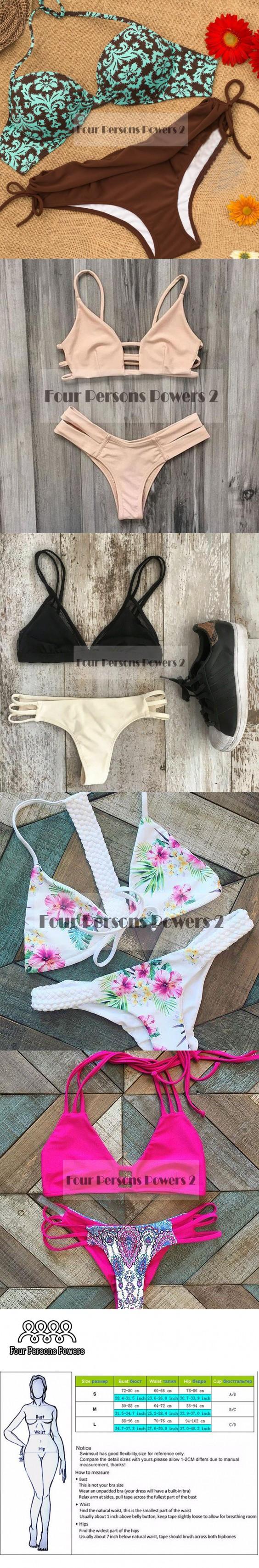 Swimwear Women 2016 brown Bikini Retro printing Sexy Bandage Beach Swimwear Ladies Swimsuit Bathing Suit Maillot De Bain N73 $10.9