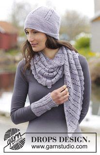 """Viola - Settet består av: Virkad DROPS sjal, mössa och pulsvärmare i """"BabyAlpaca Silk"""" med solfjädersmönster. - Free pattern by DROPS Design"""