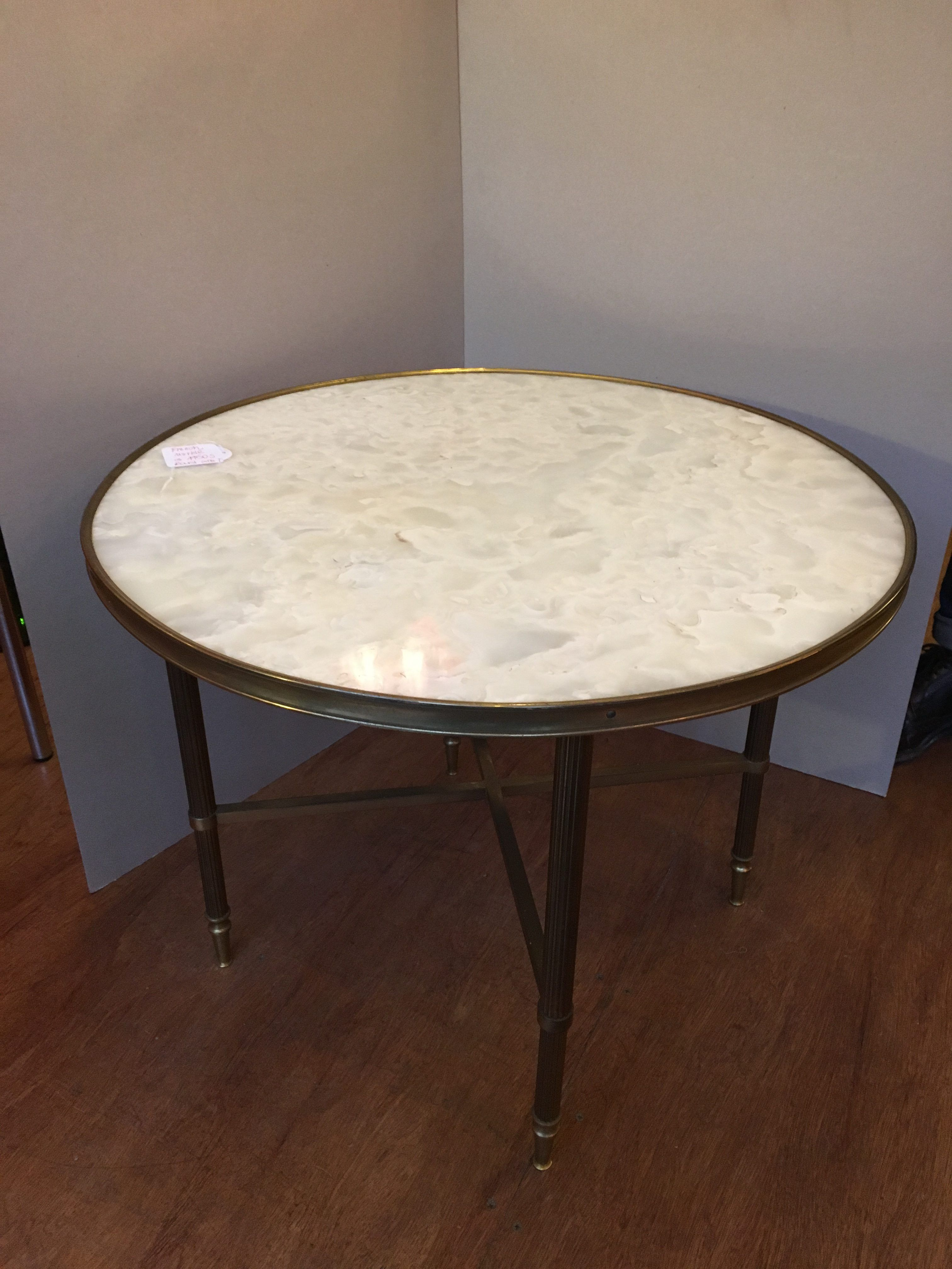 French Vintage Circular Marble Coffee Table With Solid Brass Legs