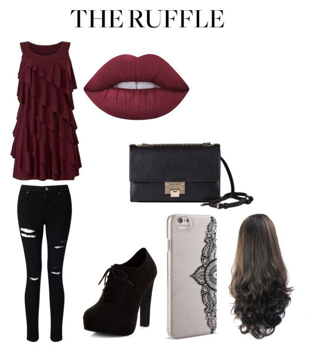 """""""Modern Ruffle"""" by fontenotwhit ❤ liked on Polyvore featuring Barneys New York, Miss Selfridge, New Look, Nanette Lepore, Jimmy Choo, Lime Crime, modern and ruffles"""