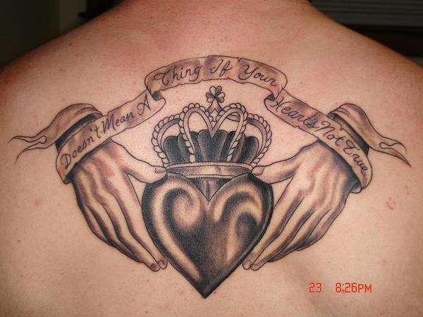I Have Addmired This Persons Tattoo Long Before I Got Inked I Wanted Something Like This For A Chest Piece Claddagh Tattoo Irish Tattoos Heart Tattoo