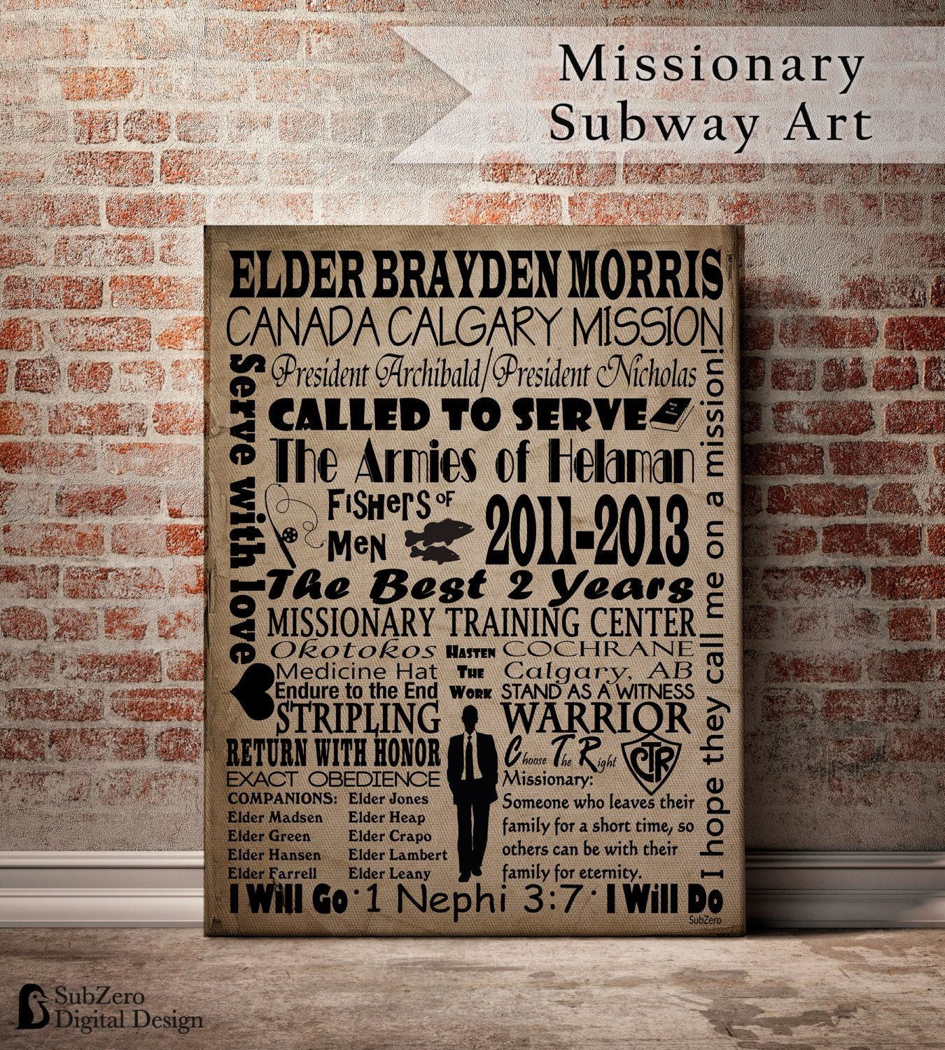 Design a 16x20 poster - Lds Missionary Subway Art Poster Personalized Including Companions Cities And Mission President Digital File 8x10 11x14 Or 16x20