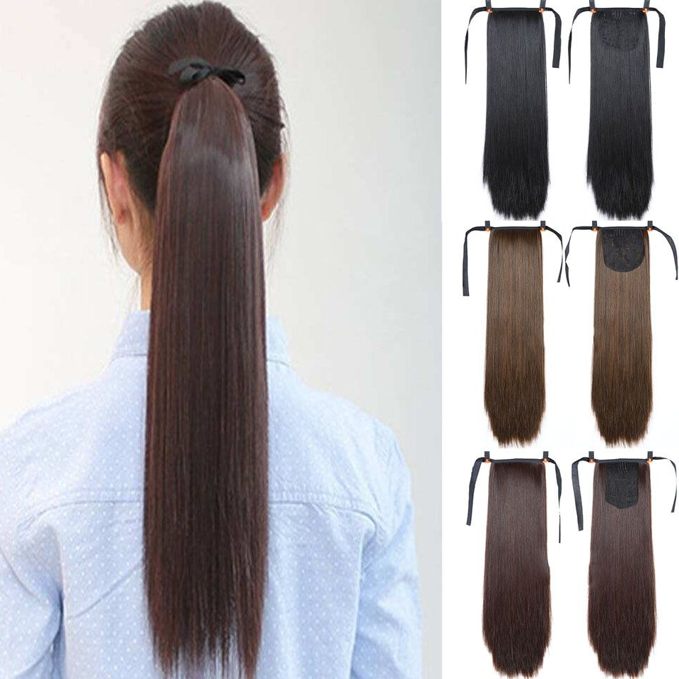 Lupu 22 Inch Women S Long Straight Hair Drawstring Strap Tied Up Ponytail Hair Clip Synthetic Wig Heat Resistant Tail In 2020 Straight Hairstyles Long Straight Hair Ponytail Hairstyles