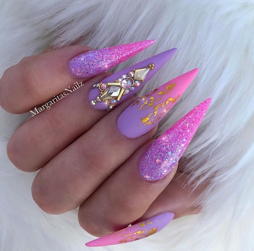 Pink Purple Ombre Unicorn Bling Stiletto Nails Spring Nail Design