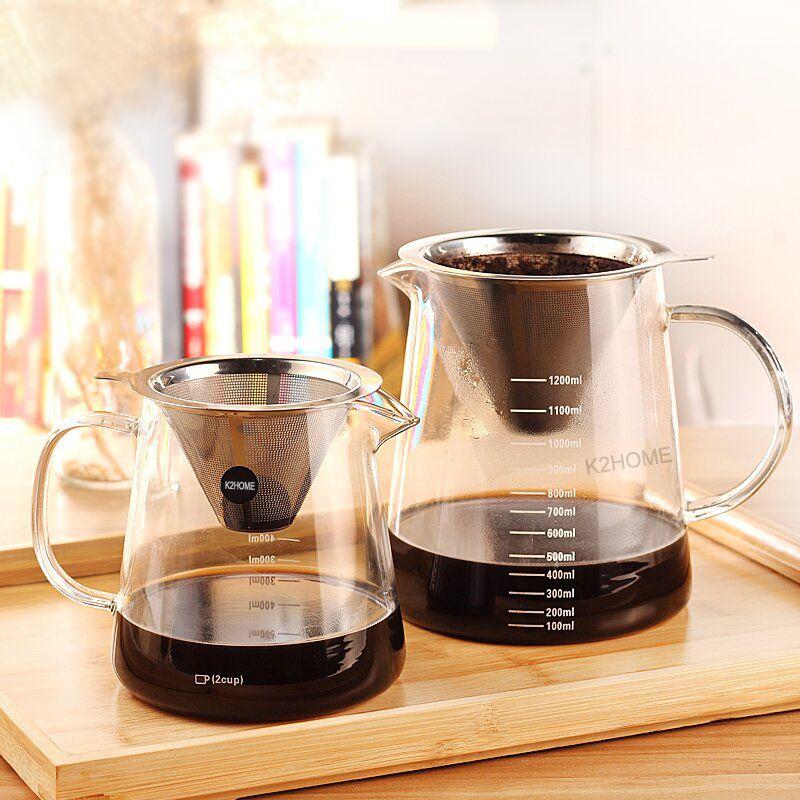 800ml or 1200ml Glass Coffee Percolators Filter Kettle