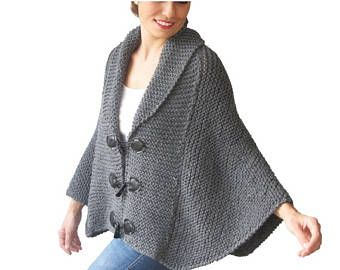 20% WINTER SALE Plus Size Hand Knitted Silver Dark Grey Poncho with Leather Rope by Afra