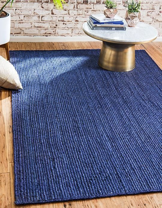 Navy Blue Braided Jute Area Rug