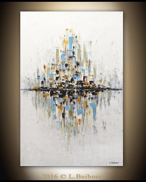 Original Abstract painting gold white large art modern peinture ...