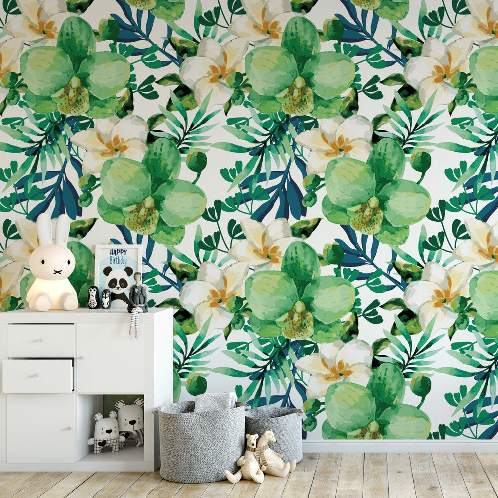 Watercolor Green Fl Removable Wallpaper Cute Self Adhesive Botanical Temporary B129