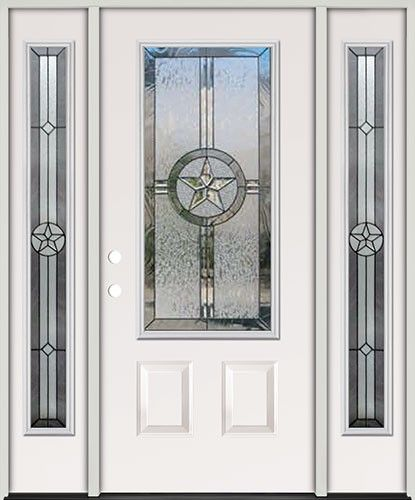 Awesome 3/4 Lite Texas Star Steel Prehung Door Unit With Sidelites #70