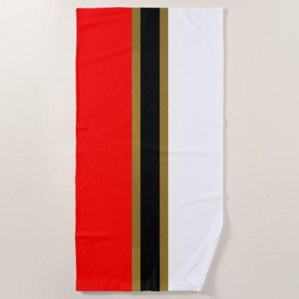 Red Gold Black And White Striped Beach Towel Zazzle Com White