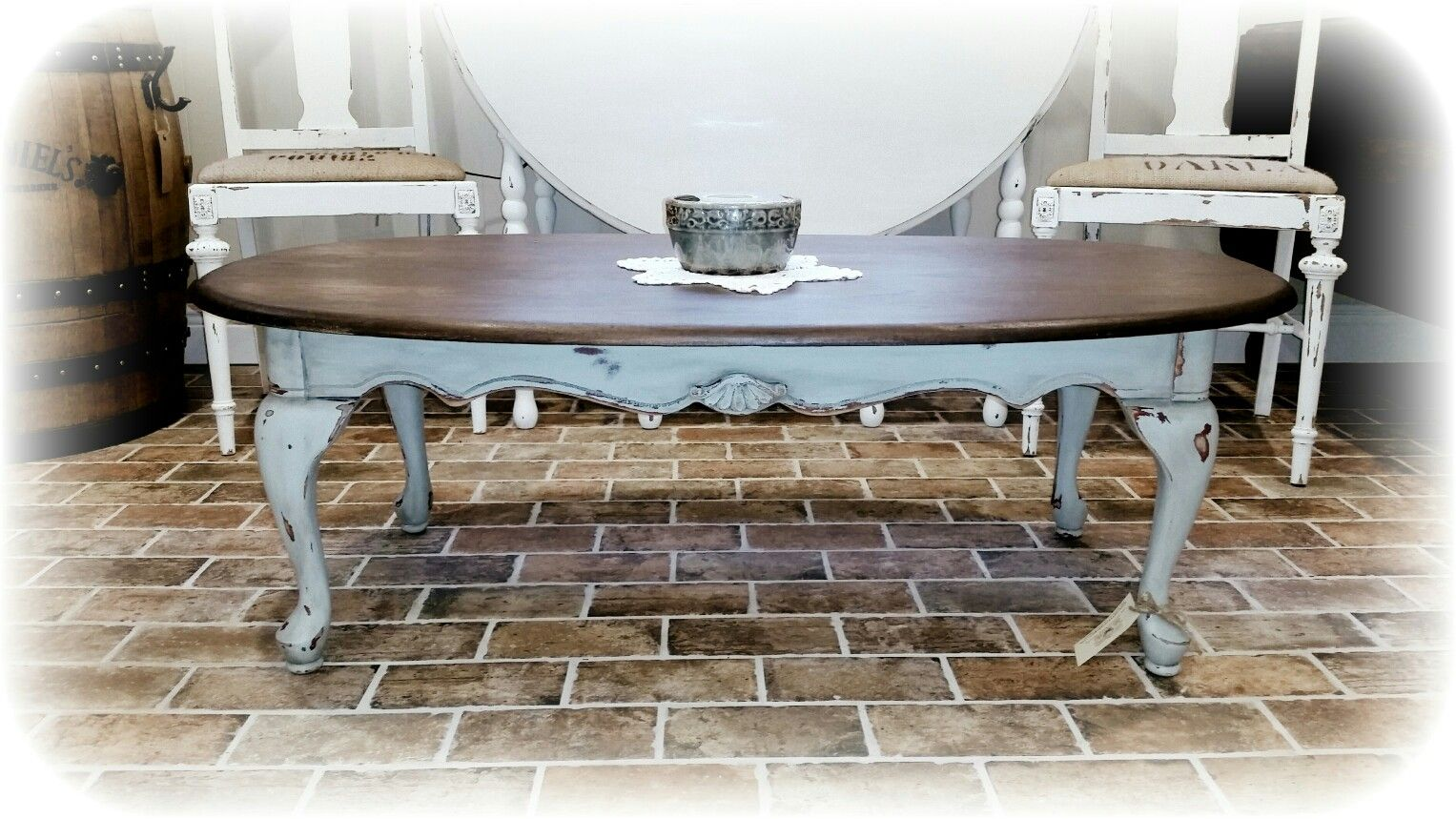 Vintage Queen Anne Coffee Table Painted In Outdoor Cafe Heavily