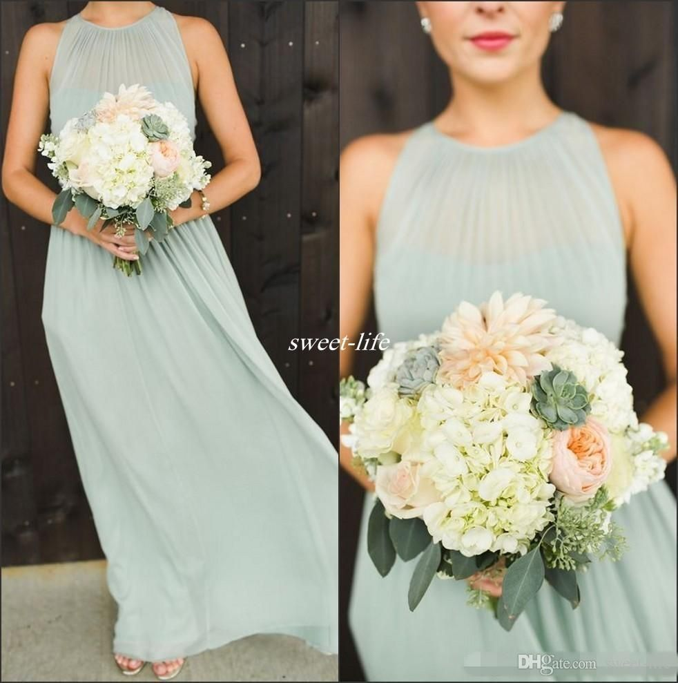 2016 elegant mint green chiffon ruffles long bridesmaid dresses 2016 elegant mint green chiffon ruffles long bridesmaid dresses floor length open back boho country wedding party maid of honor gowns formal ombrellifo Gallery