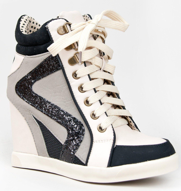 Bamboo JODIE-01 Glitter Detailed Hidden Wedge Heel Lace Up High ...