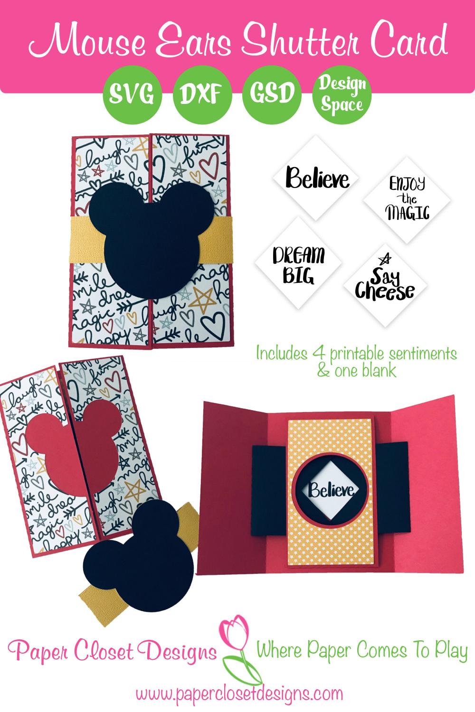 Mouse Ears Shutter Card Svg Cricut Svg Silhouette Svg Card Template Card Template Disney Crafts Unique Cards