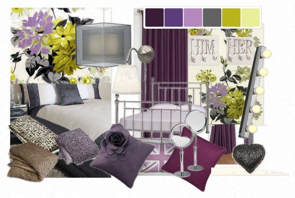 Love These Colors Bedroom Purple Green And Grey Gray Interior